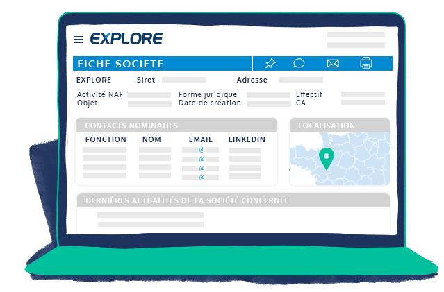 Espace client EXPLORE fiche société : code NAF, objet, forme juridique, effectif, chiffre d'affaire