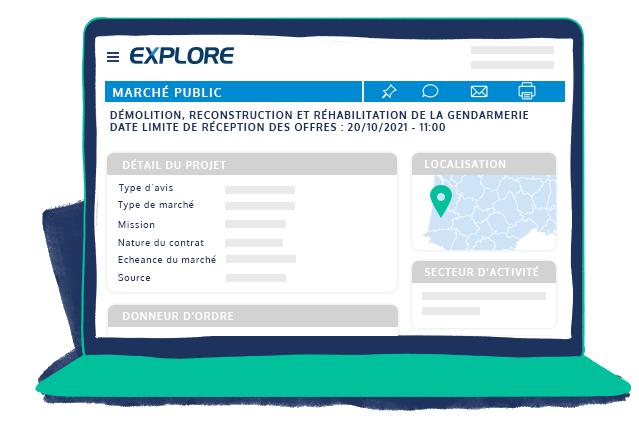 Espace client EXPLORE appels d'offre marché public démolition reconstruction réhabilitation