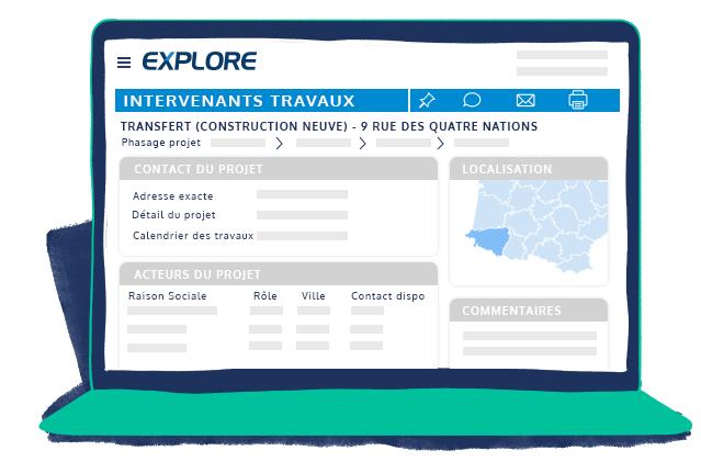 Espace client EXPLORE intervenants et attributaires des chantiers détectés par EXPLORE