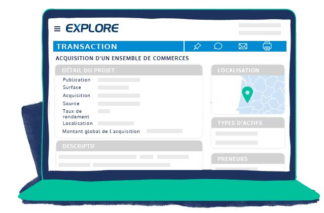 espace client EXPLORE transaction immobilière : publication surface acquisition source localisation